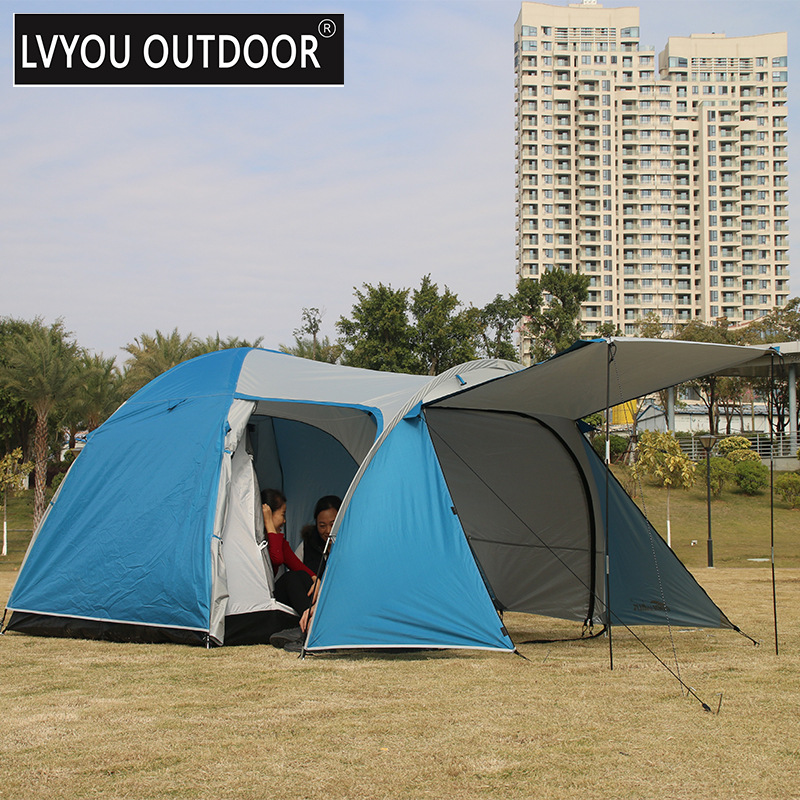 One Hall One Bedroom 3-4 Person Double Layer  Waterproof Windproof Camping Tent Large Gazebo Beach Tent Tents Outdoor Camping high quality 9 person large space outdoor waterproof camping tent 3 room 1 hall mosquito net family tents for party low price