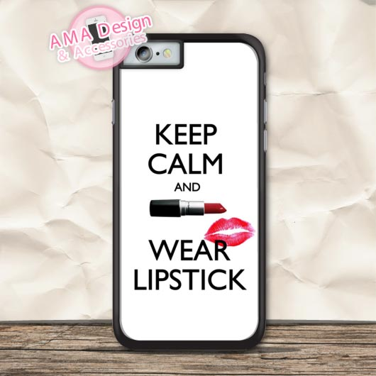 Keep Calm Wear Lipstick Protective Case For iPhone X 8 7 6 6s Plus 5 5s SE 5c 4 4s For iPod Touch