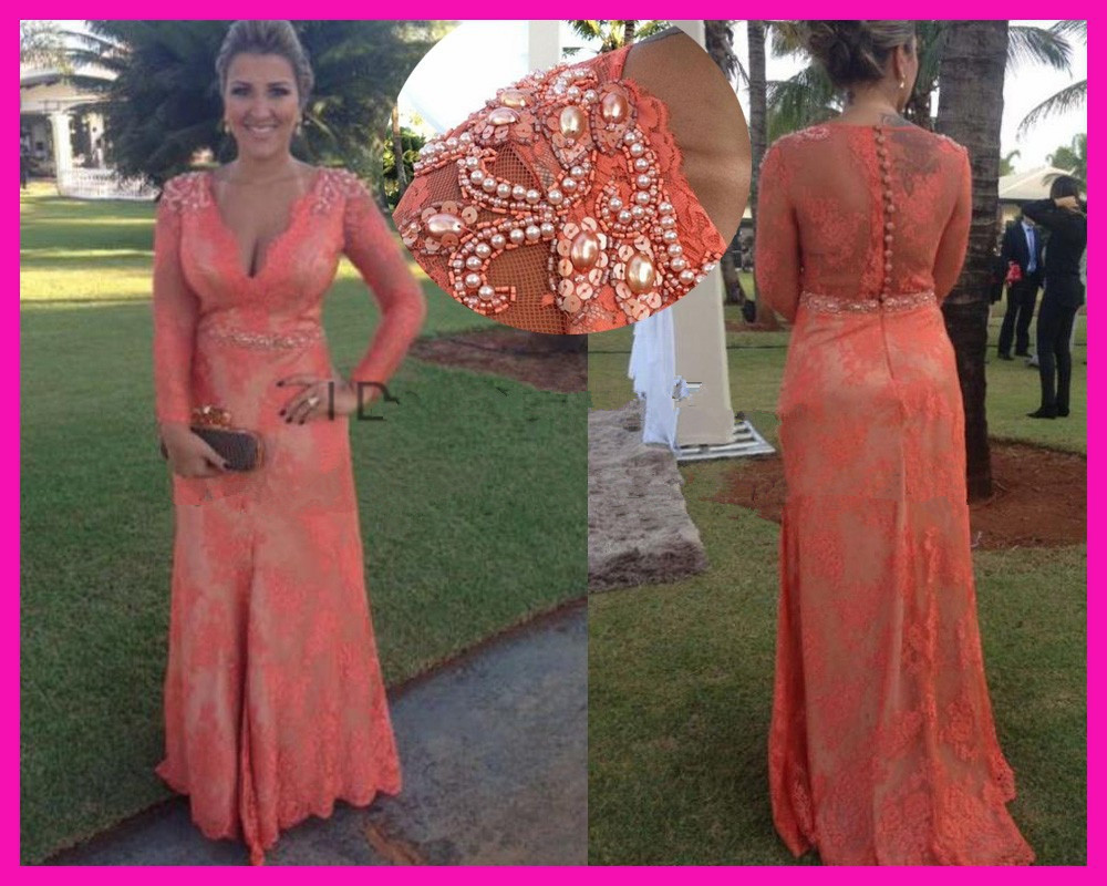 2019 robe de soiree Orange Lace See Through Pearls Belt Long Sleeves Full Length Special Occasion formal dress Evening Dresses in Evening Dresses from Weddings Events