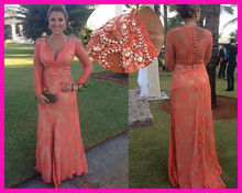 2014 Orange Lace See Through Pearls Belt Long Sleeves Full Length Special Occasion Evening Dresses E5729