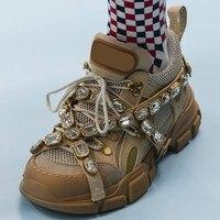 Люксовый бренд ручной работы украшенные кристаллами смешанный цвет плоские туфли с ультра модные кроссовки трек обувь женская Tiansicasual sh
