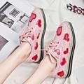 Muffin Толстые Туфли На Платформе Red Heart Узелок Вырез Женщины 2017 Новая Коллекция Весна Обувь Натуральная Кожа Для Обуви