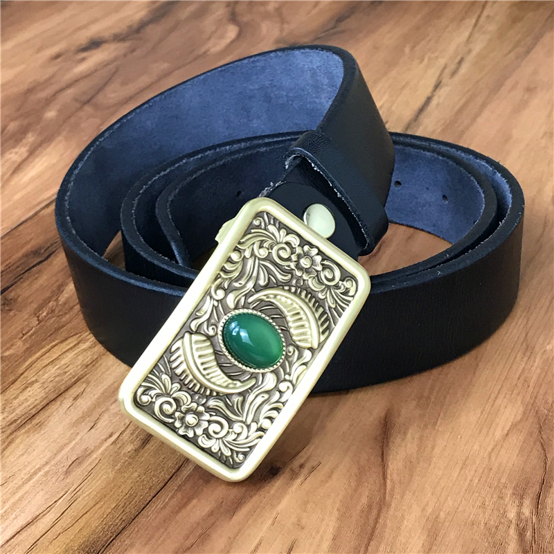 Ingenious Top Thick Genuine Leather Men Belt Chinese Jade Luxury Brass Belt Buckle Ceinture Homme Cinturon Hombre Riem Male Mbt0554 Sophisticated Technologies Apparel Accessories