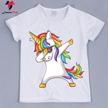 Best Quality,Kid's Dabbing Unicorn Funny T-shirts 2018 Summer Children White Soft Graphic T Shirt Baby Clothing Boy and Girl Top(China)