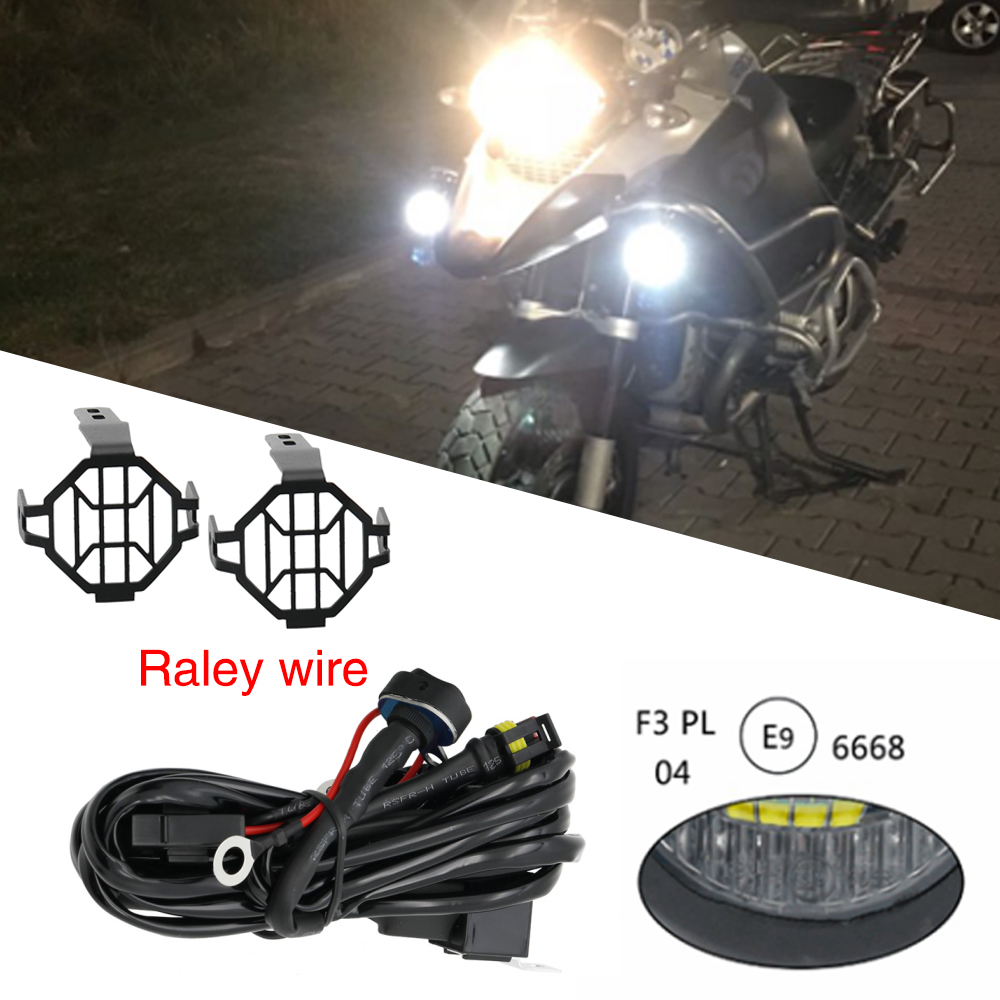 set motorcycle universal assemblie driving lamp 40w led auxiliary fog light for bmw r1200gs adv [ 1000 x 1000 Pixel ]