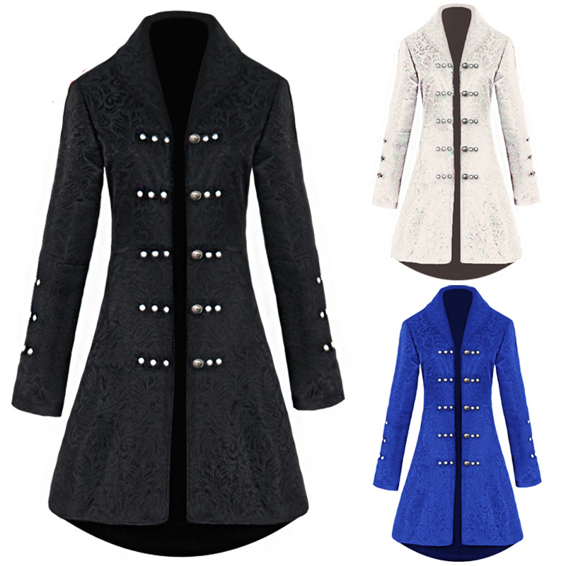 Women Vintage Wool Jacket Party Show Stage Costume Medieval Renaissance Winter Autumn Long Coat