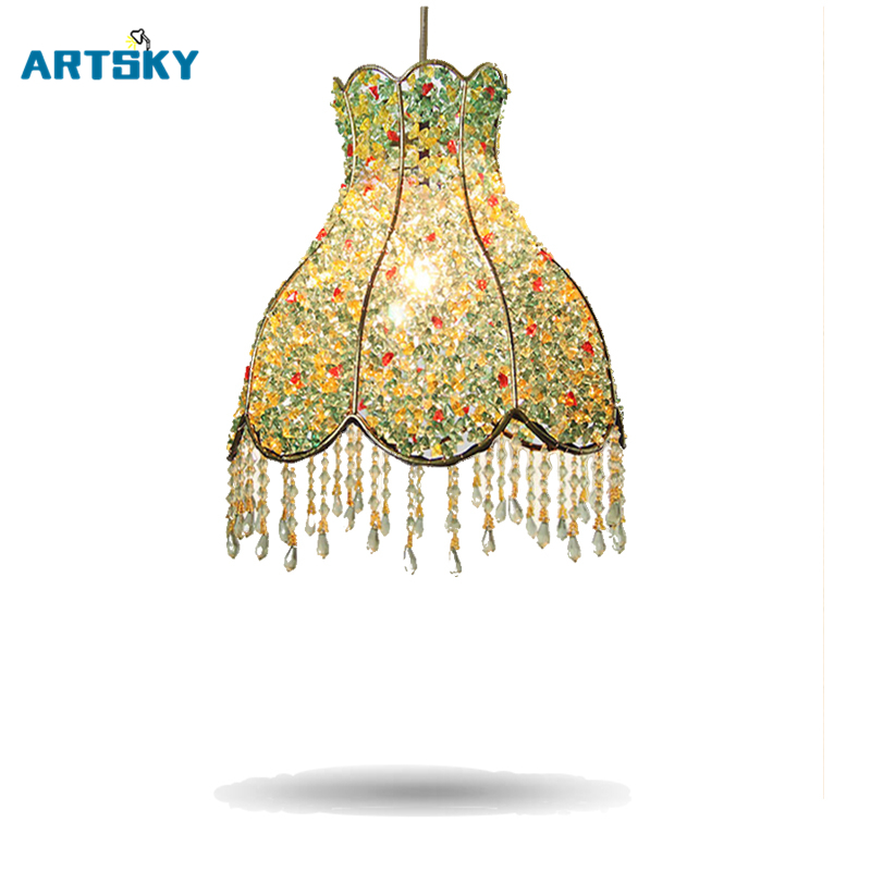 2016 Moderne Trends Led Crystal Hanglampen Creatieve Bohemian Hanger Lampen Licht Groen Blauw Hanglamp