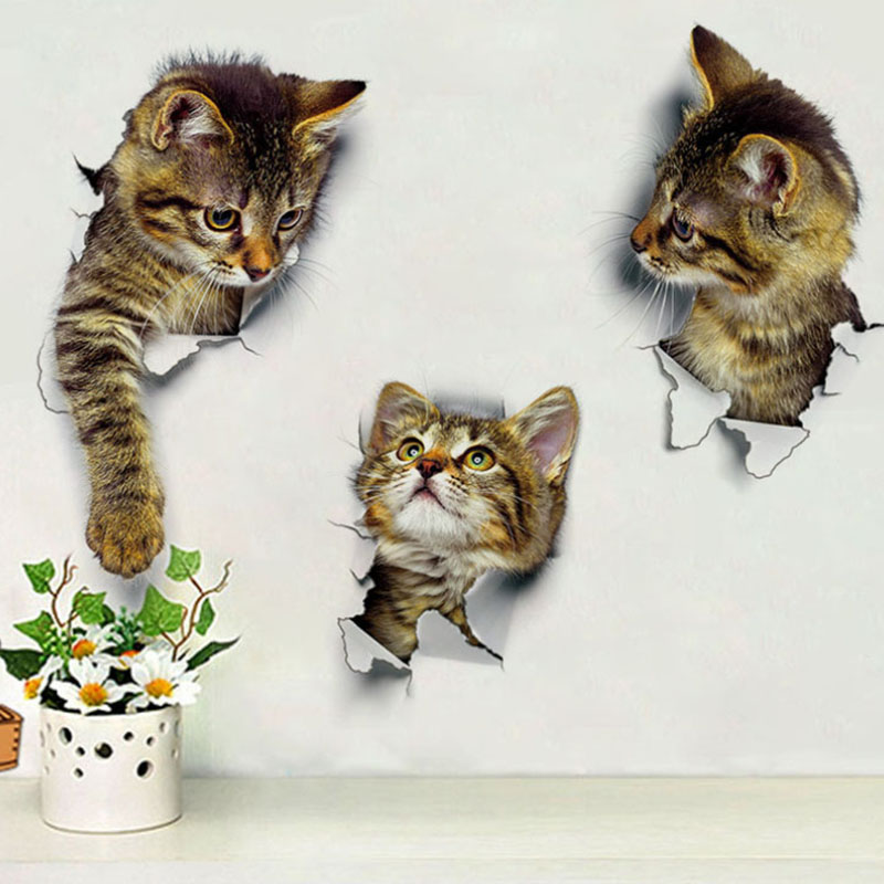 3pcs Cat Kitten Animals Home Window Wall Decal Office 3D Art Stickers Vinyl Room