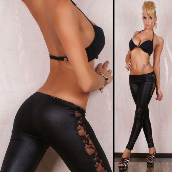 Womens Sexy Faux Leather Leggings Stretch Skinny Leg Pants -8056