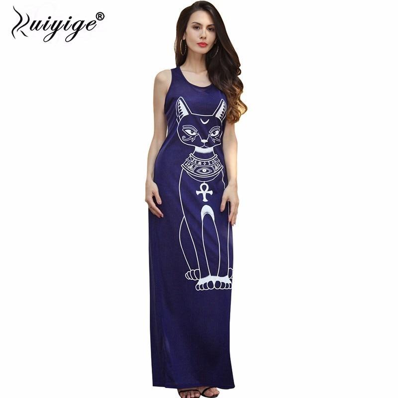 Ruiyige 2018 فساتين الصيف الطويلة أزياء المرأة عارضة الأسود أكمام جولة الرقبة بالإضافة إلى حجم القط طباعة سليم الطابق طول اللباس