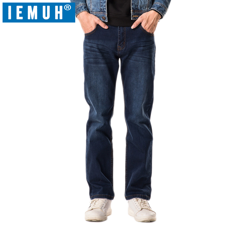 IEMUH Brand Mens jeans New Fashion Men Casual Jeans Slim Straight High Elasticity Feet Jeans Loose Waist Long Trousers hot sell
