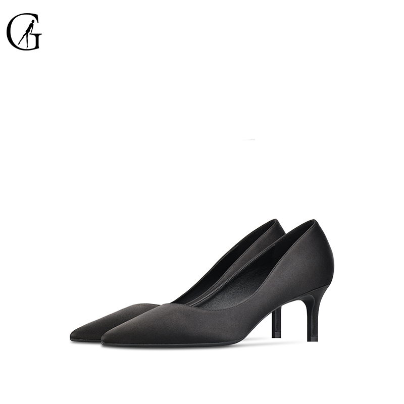 GOXEOU 2019 Spring Autumn Women Pumps Elegant Rhinestone Silk Satin High Heels 6CM Shoes Sexy Thin Pointed Single Shoes size -46