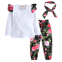 лучшая цена 3Pcs/Set 2017 Autumn Newborn Baby Girl Clothes Clothing Set Infant White T-shirt+Floral Pants+Headband Baby Girl Toddler Outfits