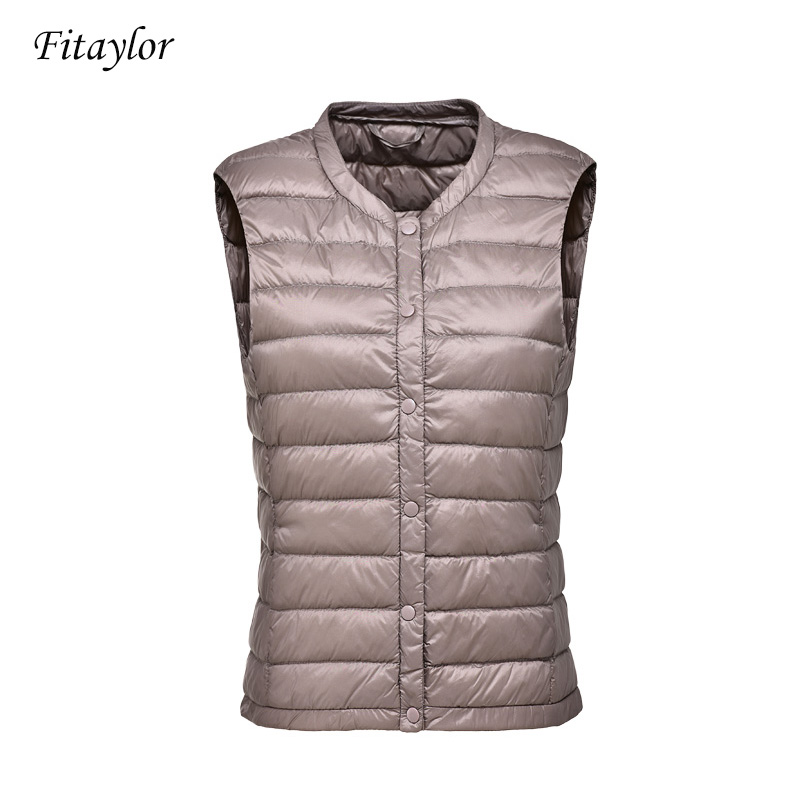 Fitaylor New Ultra Light 90% White Duck Down Women Vest Coat Women Duck Down Sleeveless Jacket Autumn Winter Round Collar Coat