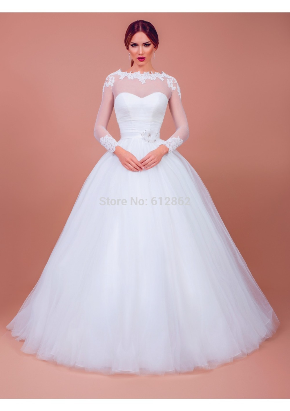 Long Sleeve Ball Gown Long Train Simple Elegant Wedding Gowns-in ...