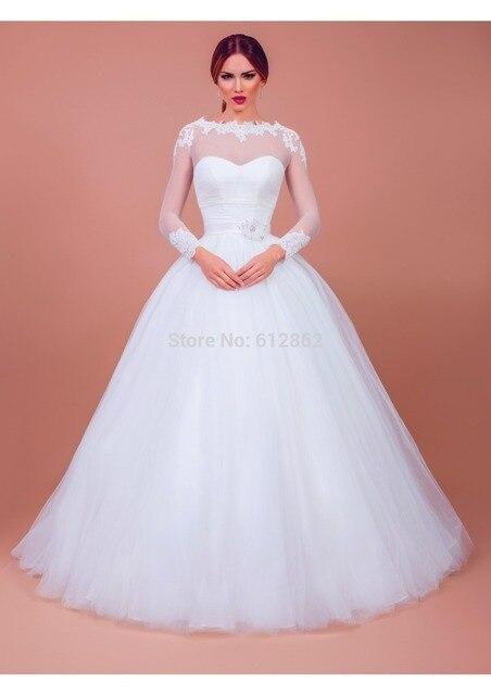 Long Sleeve Ball Gown Long Train Simple Elegant Wedding Gowns-in ... e61b1123ec68