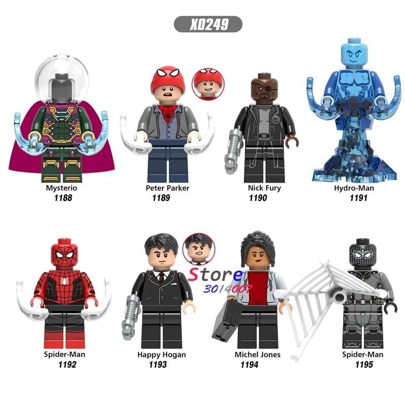 Single Marvel Spider Man Michel Jones Peter Parker Mysterio Nick Fury Hydro-Man Happy Hogan  Building Blocks Kids Toys