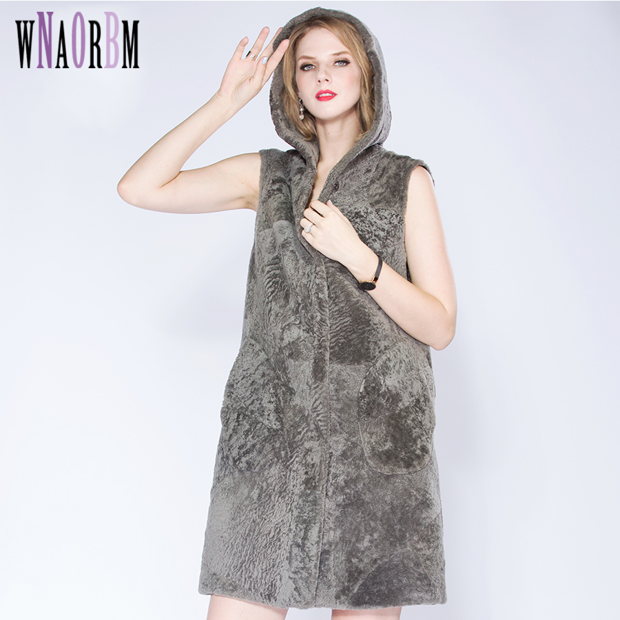 WNAORBM Latest Winter Sheep Sheared Leather With Fur Vest Hooded Young Lady  Natural Fur Fashion Medium Style Thickened Vest