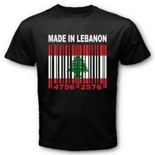 efa1d41b75c878 MADE IN LEBANON Lebanese Leb Flag CUSTOM BARCODE NUMBERS T-shirt Y01 Short  Sleeves Cotton T-Shirt Print T-Shirt Summer