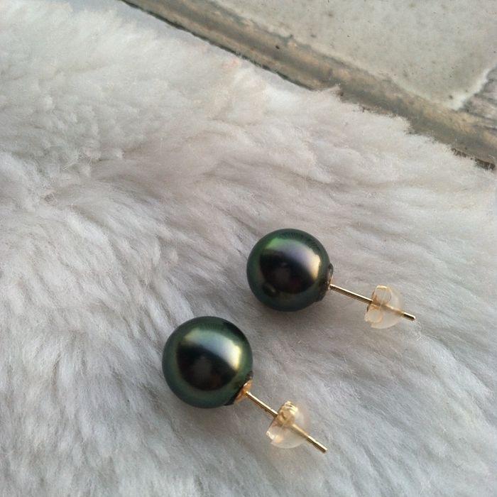 Livraison gratuite parfaite 11 MM noir vert perle de tahiti boucle d'oreille AAAA + +