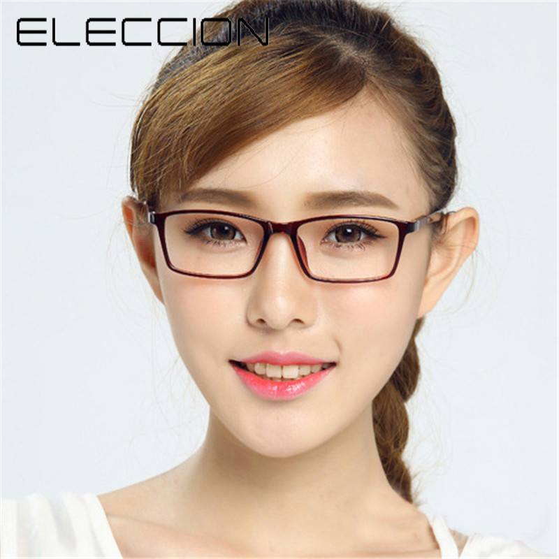 ELECCION New Ultra Light TR90 Full Frame Men And Wowem Square Eyeglasses Frames Transparent Glasses