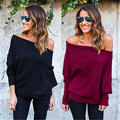 Winter Women Sweater New Casual Long Sleeve Knitted Pullover Loose Sweater Jumper Tops Knitwear Off One Shoulder Pullover
