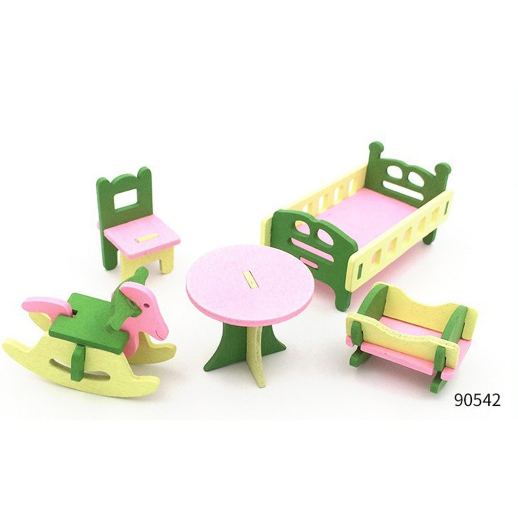Kids Pretend Role Play House Wooden Furniture Toy Set Kitchen Babies Room Living Room Mini Ornaments Toys Kit Kids Birthday Gift