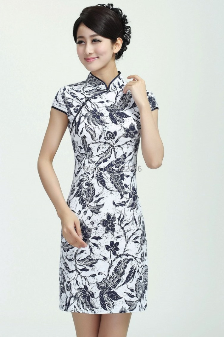 Shanghai Story Chinese Cheongsam Dress cotton Linen Qipao Blue and white print dress traditional Chinese Style