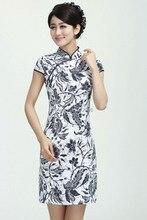Шанхай история китайский платье Чонсам хлопок белье QiPao синий и белый платье с принтом для девочек Традиционный китайский Стиль платье 3 Стиль