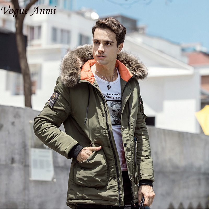 Vogue Anmi Winter Jacket Men Long Windproof 2017 Zipper Solid Hood Warm Coat Thick Cotton-Padded Famous Brand Thicken Parkas bosch rotak 43 new харьков