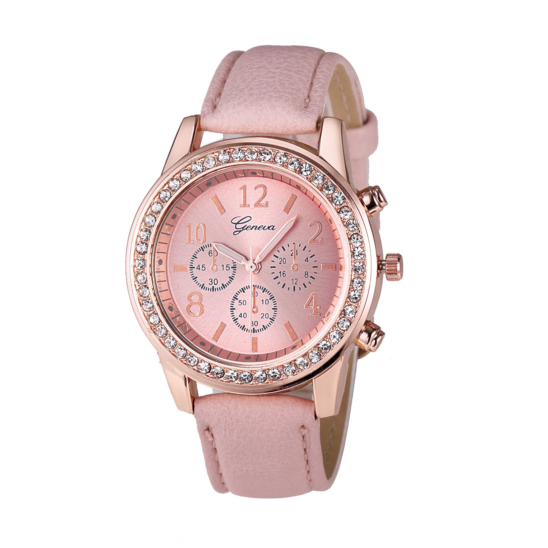 Watch Women Watches relogio feminino Fashion Geneva Roman Rhinestone Clock Lady Leather Band Quartz WristWatches reloj mujer