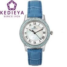 KEDIEYA Womens Luxury Brands Zircon Diamond Pearl Dial Waterproof Miyota Quartz Watch Leather Strap Watches