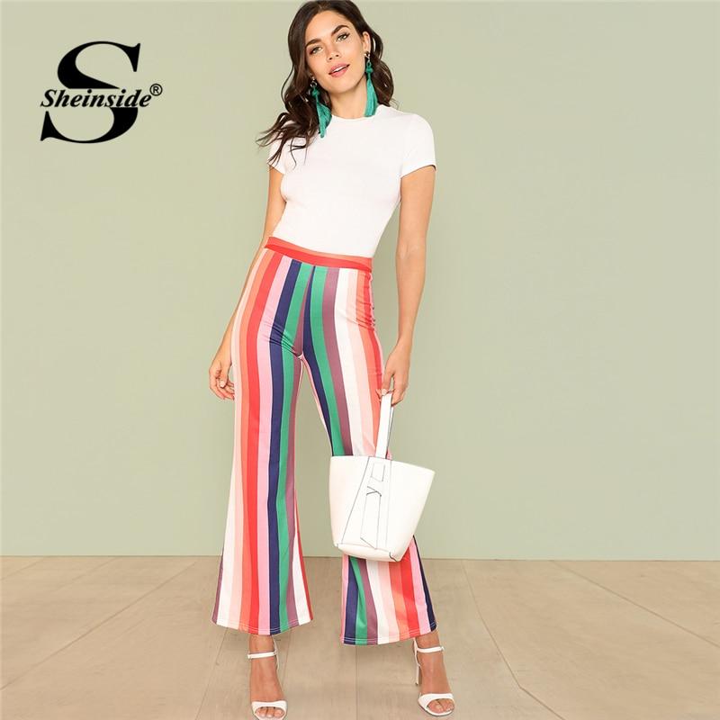 Sheinside Vertical Striped Flare Hem Pants Multicolor High Waist Trousers Office Ladies Workwear Summer Casual Long Pants