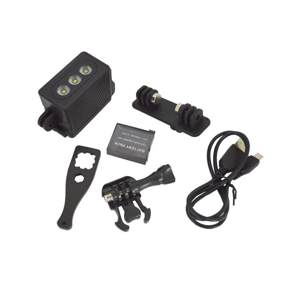 Sous-marin lumière plongée LED étanche vidéo Spot lampe pour GoPro Session Go Pro Hero 5 4 SJ4000 Xiaomi Yi 4 k caméra accessoires
