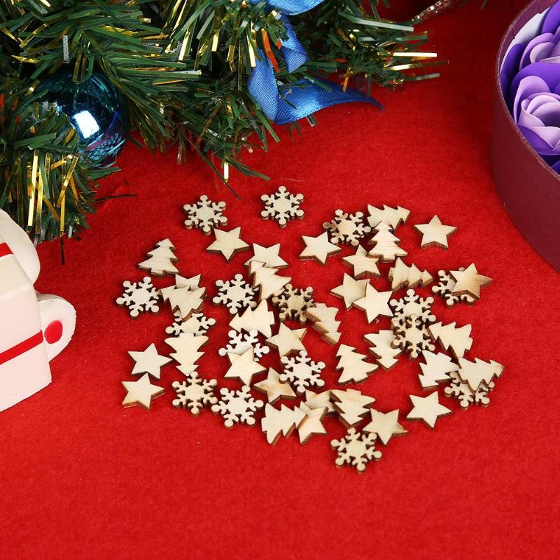 50pcs natural wood tree snowflakes diy christmas tree hang pendant star table decor holiday festive new