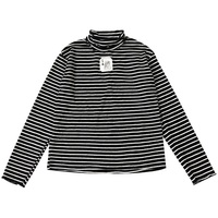 2018 Spring Slim Long sleeved Striped Turtleneck Women T Shirts Cartoon Patch Embroidery Ruffles Cuffs Female Warm Undershirt