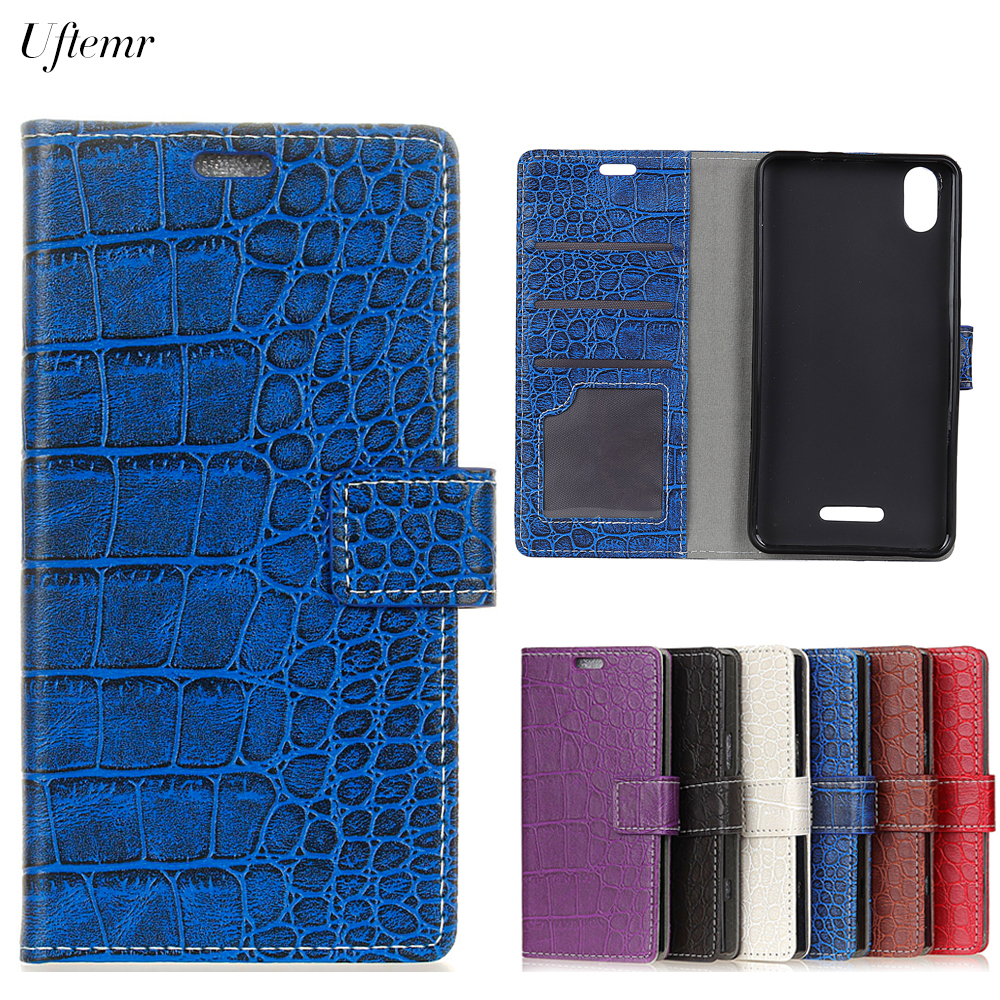 Uftemr Vintage Crocodile PU Leather Cover For WIKO Lenny 4 Plus Protective Silicone Case Wallet Card Slot Phone Acessories