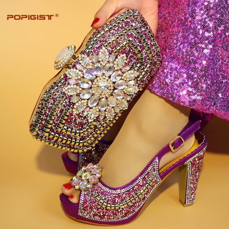 ใหม่ล่าสุดสีม่วง 10 เซนติเมตรส้นเท้าสำหรับรองเท้าสตรีและกระเป๋าอิตาเลี่ยนรองเท้าจับคู่กระเป๋าอิตาเลี่ยนรองเท้าจับคู่กระเป๋าชุด-ใน รองเท้าส้นสูงสตรี จาก รองเท้า บน   1