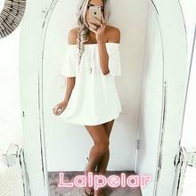 2018 Spring Summer Women Sleeveless Dress Casual Party Off Shoulder Evening Short Mini Laipelar
