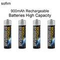 4 pcs sofirn ni-mh 1.2 v aaa 900 mah baterias recarregáveis de alta capacidade de pré-conjunto de baterias carregadas para led lanternas faróis