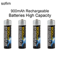 4pcs Sofirn 1.2V AAA Ni-Mh 900mAh Rechargeable Batteries High Capacity Pre-charged Batteries Set for LED Flashlights Headlamps