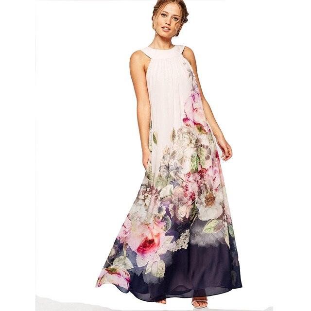 8001d42bed419 Maxi traje Vestido largo vestidos de verano de 2019 sin mangas de gasa  estampado Floral de