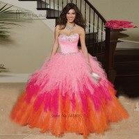 Vestidos de Quinceanera Sweet 15 Dresses Quinceanera Dresses Pink Fushcia Orange Crystals Ruffles Sweetheart Vestidos de 15 anos