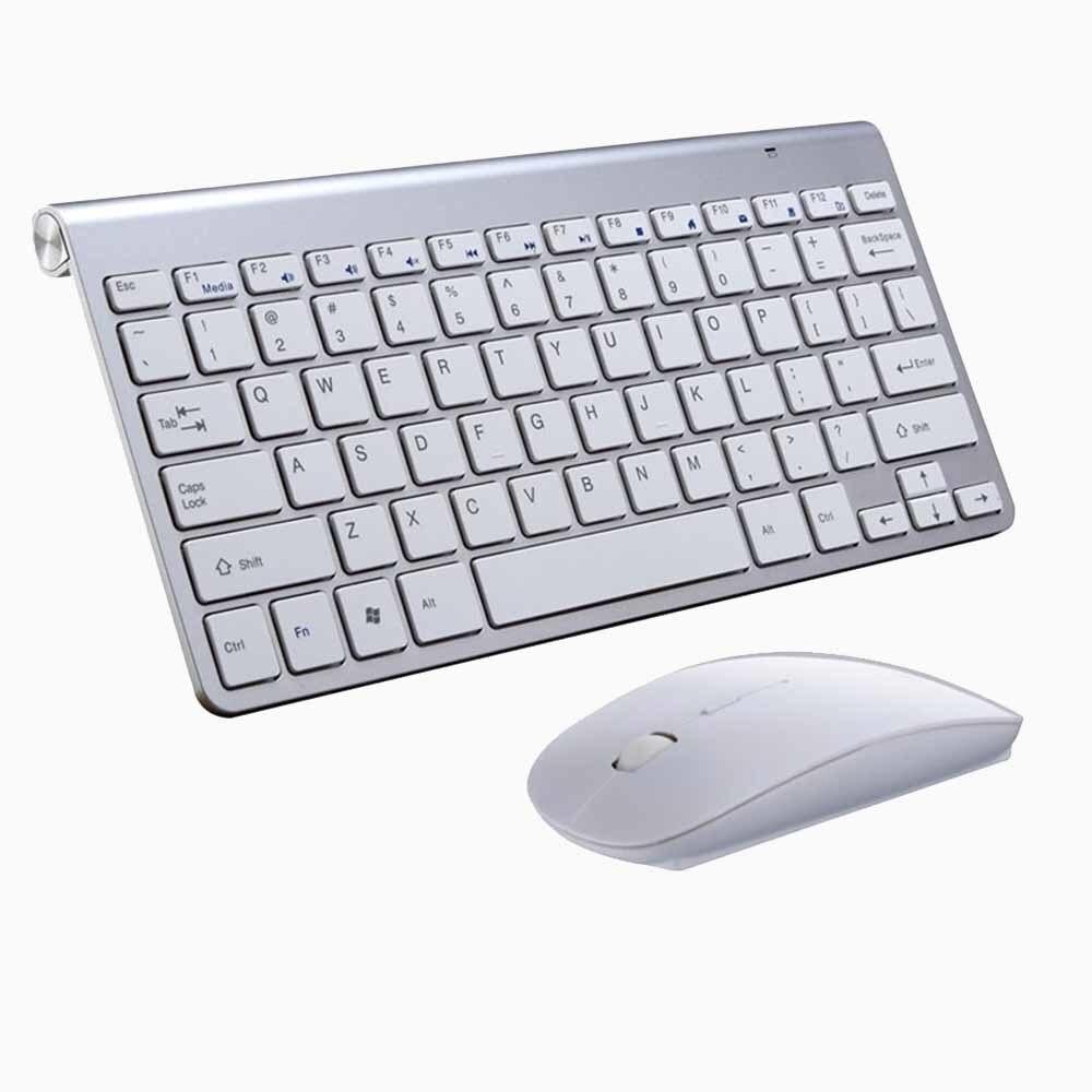 Портативный Mute ключи Клавиатуры 2.4 г Сверхтонкий Беспроводной клавиатура и Мыши набор для MAC Win XP 7 10 Vista Android ТВ коробка - Цвет: Silver Keyboard Set