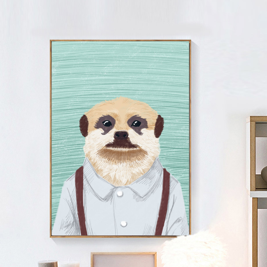 Wall Art Canvas Painting Samoyed Pug Man Animals Nordic Posters And Prints Cartoon Wall Pictures For Living Room Kids Room Decor in Painting Calligraphy from Home Garden