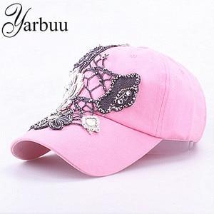 YARBUU Baseball caps 2017 New style FLOWER cap for women sun hat rhinestone hat denim and cotton snapback cap free shipping