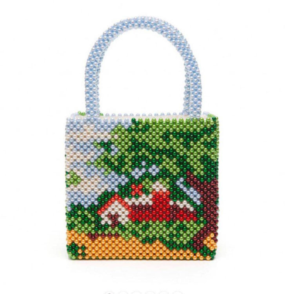 Beaded Mixed Pearl Combination Picture Landscape House Hand-beaded Beads Handbag Net Red Fashion New BagBeaded Mixed Pearl Combination Picture Landscape House Hand-beaded Beads Handbag Net Red Fashion New Bag