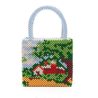 Beaded Mixed Pearl Combination Picture Landscape House Hand beaded Beads Handbag Net Red Fashion New Bag