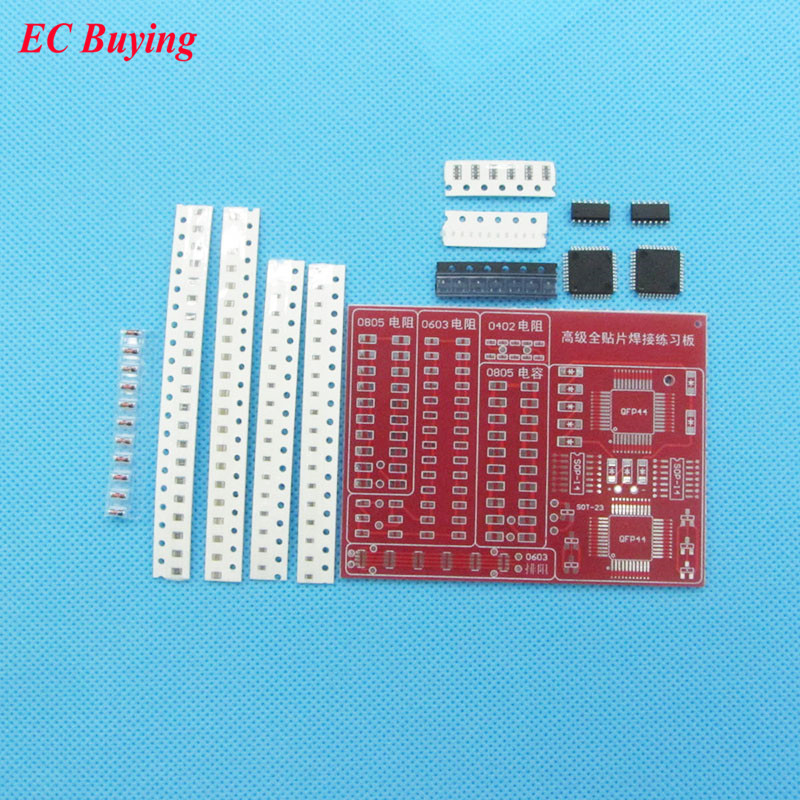 SMT SMD Component Welding Practice Blue PCB Board Soldering Solder  Suite Kit RS