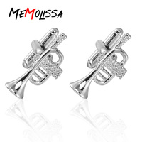 Memolissa luxe argent trompette musique mode boutons de manchette pour hommes marque haute qualité boutons de manchette boutons de manchette vente chaude bijoux